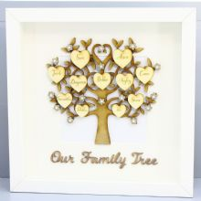 3D Box Frame Our Family Tree Decorated with 12 Names Engraved on Hearts MDF Ply